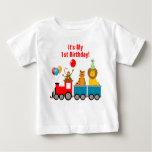 Singe de lion animal d'anniversaire de garçon de t-shirt pour bébé