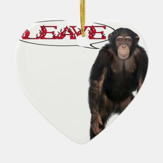 singe leave ornement cœur en céramique