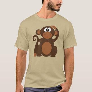 Singe mignon de bande dessinée rayant le T-shirt