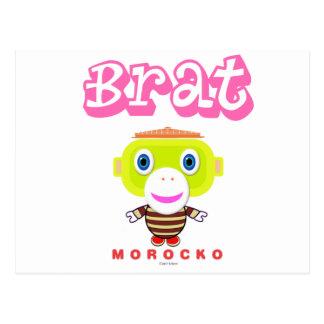 Singe-Morocko Gosse-Mignon Carte Postale