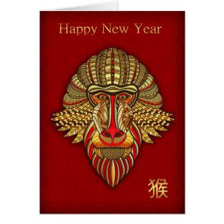 Singe, nouvelle année chinoise, or et carte rouge