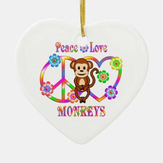 Singes d'amour de paix ornement cœur en céramique
