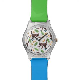 Singes doux jonglant des bananes montres bracelet