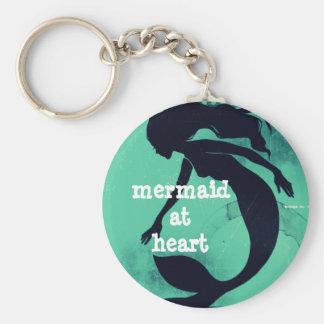 Sirène au coeur porte-clé rond