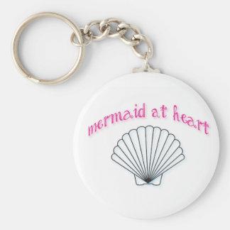 Sirène au porte - clé de coeur porte-clé rond