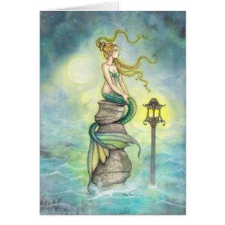 Sirène avec l'art d'imaginaire de lanterne et de carte de vœux