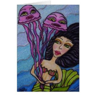 Sirène avec le carte de remerciements de méduses