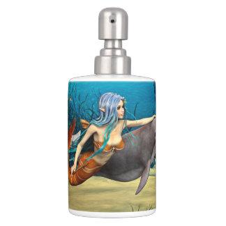 Sirène avec le dauphin sets de salle de bain