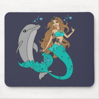Sirène avec le dauphin tapis de souris
