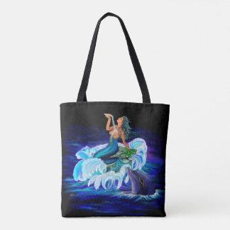 Sirène avec le dauphin tote bag