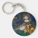 """""""Sirène avec le porte - clé d'un dragon d'or"""" Porte-clé Rond"""