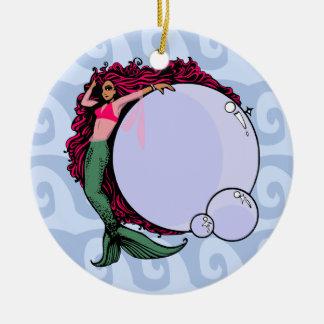 Sirène avec l'ornement de bulles ornement rond en céramique