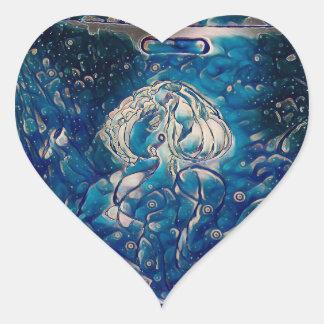 Sirène bleue sticker cœur