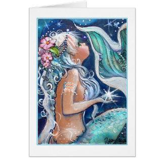 Sirène dans la carte des eaux bleues