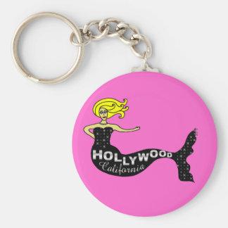 Sirène de Hollywood (rose) Porte-clé Rond