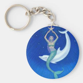Sirène de lune de dauphin porte-clé rond