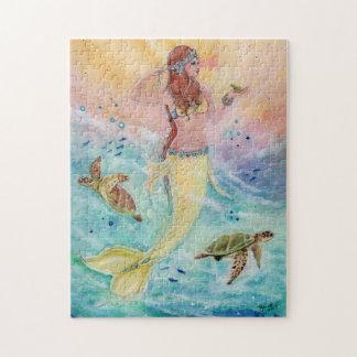 Sirène de mer de soleil avec le puzzle de tortues
