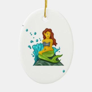 sirène d'emoji ornement ovale en céramique