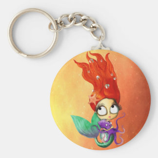 Sirène éffrayante avec le poulpe porte-clé rond