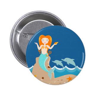 Sirène et fête d'anniversaire de dauphins badge rond 5 cm