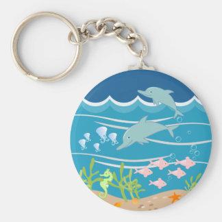 Sirène et fête d'anniversaire de dauphins porte-clé rond