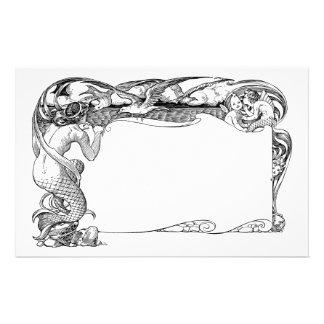 Sirène et mouettes papier à lettre