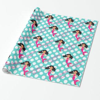 Sirène et papier d'emballage personnalisés de papier cadeau noël