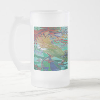 Sirène et papillons frosted glass beer mug