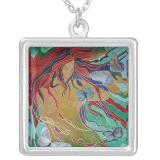 Sirène et papillons pendentif carré