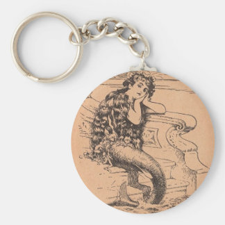 Sirène pensive porte-clé rond