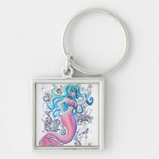 Sirène rose de nageoire caudale porte-clé carré argenté