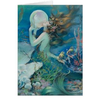 Sirène vintage avec la carte de note de perle