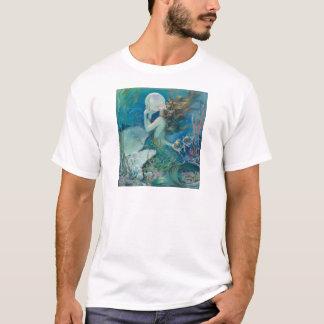 Sirène vintage tenant le T-shirt de perle