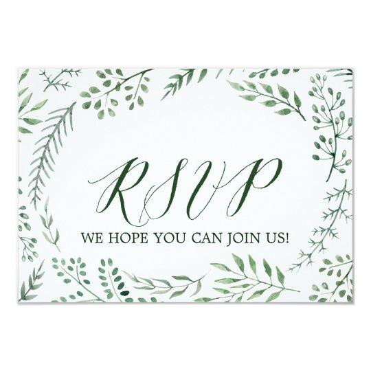 Site Web rustique vert RSVP de mariage de Carton D'invitation 8,89 Cm X 12,70 Cm
