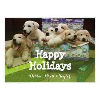 Six chiots se reposent dans des boîtes de Noël Carton D'invitation 12,7 Cm X 17,78 Cm