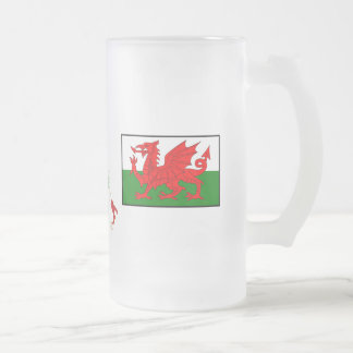 Six nations Pays de Galles Frosted Glass Beer Mug
