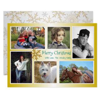 Six or de Noël de famille de collage de photo Carton D'invitation 12,7 Cm X 17,78 Cm