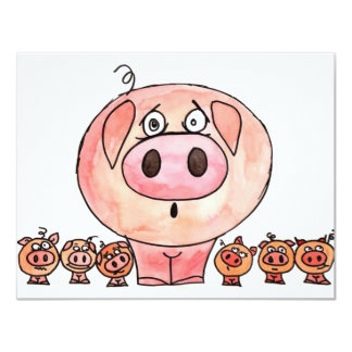 Six petits porcs carton d'invitation 10,79 cm x 13,97 cm