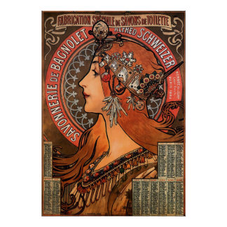 SIZE-ALPHONSE SUPERBE MARIA MUCHA-SAVONNERIE de BA Affiches