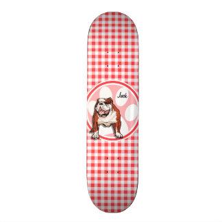 Skateboard 21,6 Cm Bouledogue ; Guingan rouge et blanc