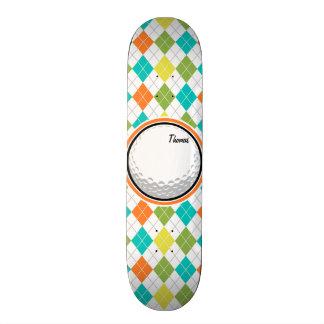 Skateboard Boule de golf ; Motif à motifs de losanges coloré