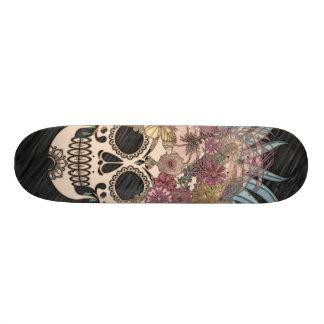 Skateboard crâne hippie, bleu