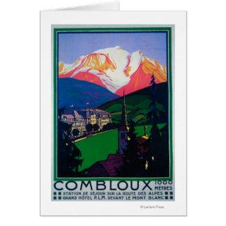 Ski à l'affiche promotionnelle de Combloux Carte De Vœux