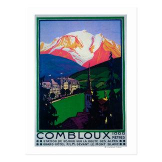 Ski à l'affiche promotionnelle de Combloux Carte Postale