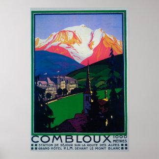 Ski à l'affiche promotionnelle de Combloux Posters