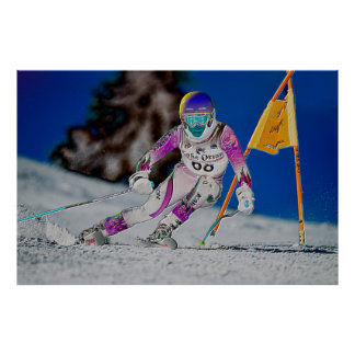Ski alpin emballant l'affiche D1429027