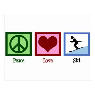 Ski d'amour de paix carte postale