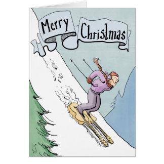 Ski de carte de Noël sur des guitares