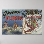 Ski d'eau en Floride contre la neige skiant vers l Posters