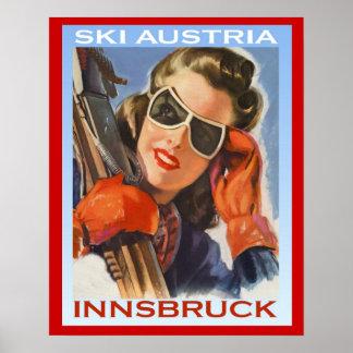Ski vintage Autriche, Innsbruck de sports d'hiver Affiche